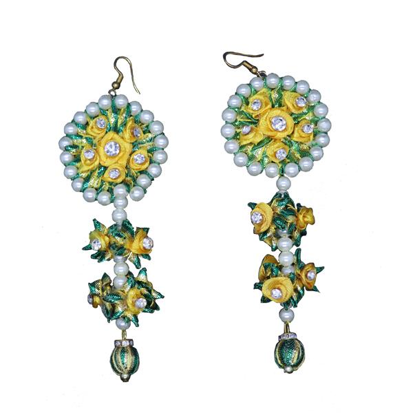 ff0201bab Green Flower Drop Gota Earrings - Gendha Phool